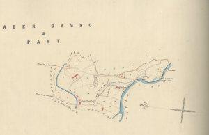 Map Johnson o 1855 yn dangos lleoliad gwaith dŵr Nant Graen a llwybr y bibell ddŵr