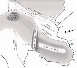 Y cynllun cyntaf o Ffos Coetmor – addasiad David A Jenkins o fap William Earl – Plan of mountain and waste land in Llanllechid parish 1786. Mapiau Penrhyn PFA/6/182 drwy ganiatâd Archifau a Chasgliadau Prifysgol Bangor
