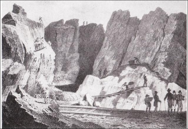Chwarel y Penrhyn yn 1808 –engrafiad