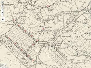 Map Ordnans circa 1923 yn dangos dosbarthiad tapiau dŵr yn ardal Mynydd Llandygái. Map drwy ganiatâd a charedigrwydd Wynne ap Iorwerth Glanrafon Bach, gydag ychwanegiadau gan Idris Lewis.