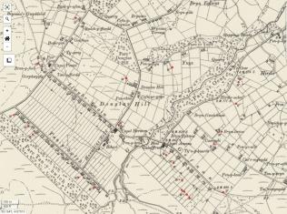 Map Ordnans 1888 yn dangos dosbarthiad y pistylloedd dŵr yn ardal Mynydd Llandygái. Map drwy ganiatâd a charedigrwydd Idris Lewis, Dolwern