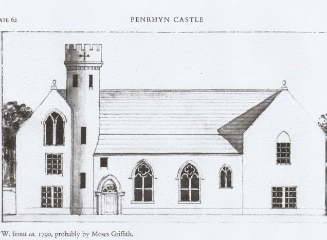 Llun plasty gwreiddiol y Penrhyn gan Moses Gruffydd
